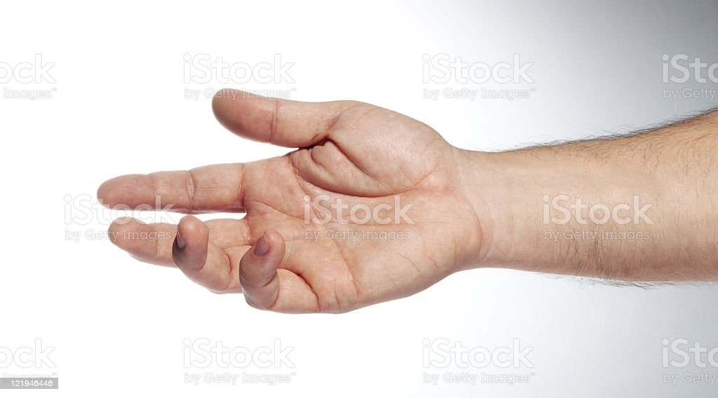 Hand of the man palm up on a white background stock photo