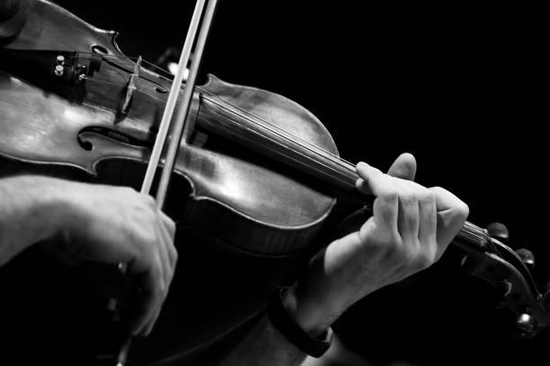 Hand des Musikers auf den Saiten einer Geige – Foto