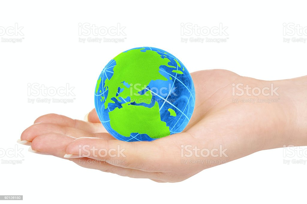hand of the person holds globe royalty-free stock photo
