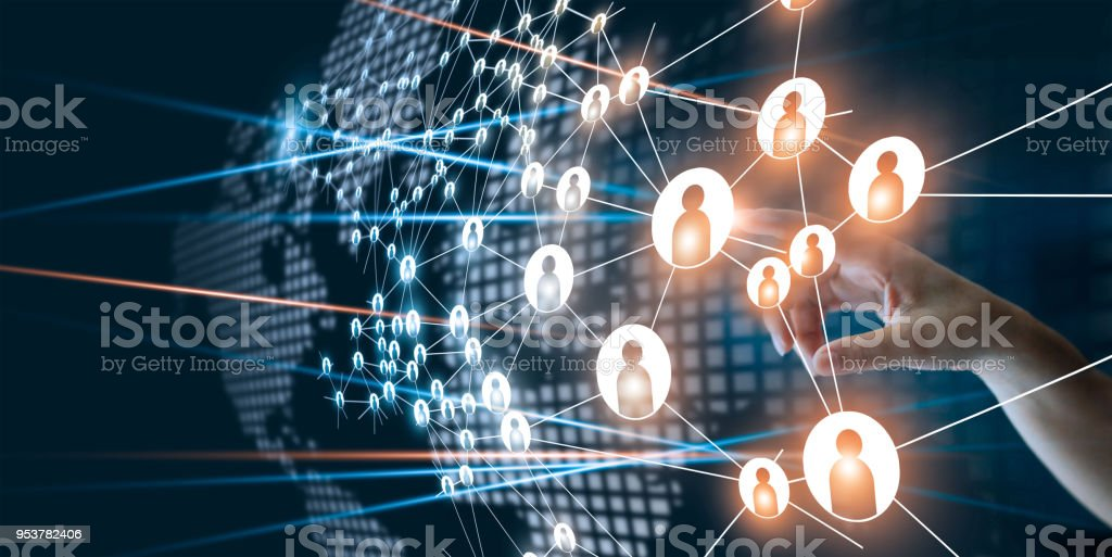 Hand of touching network connecting the human dots icon in business project management. Teamwork organization and brainstorm concept royalty-free stock photo