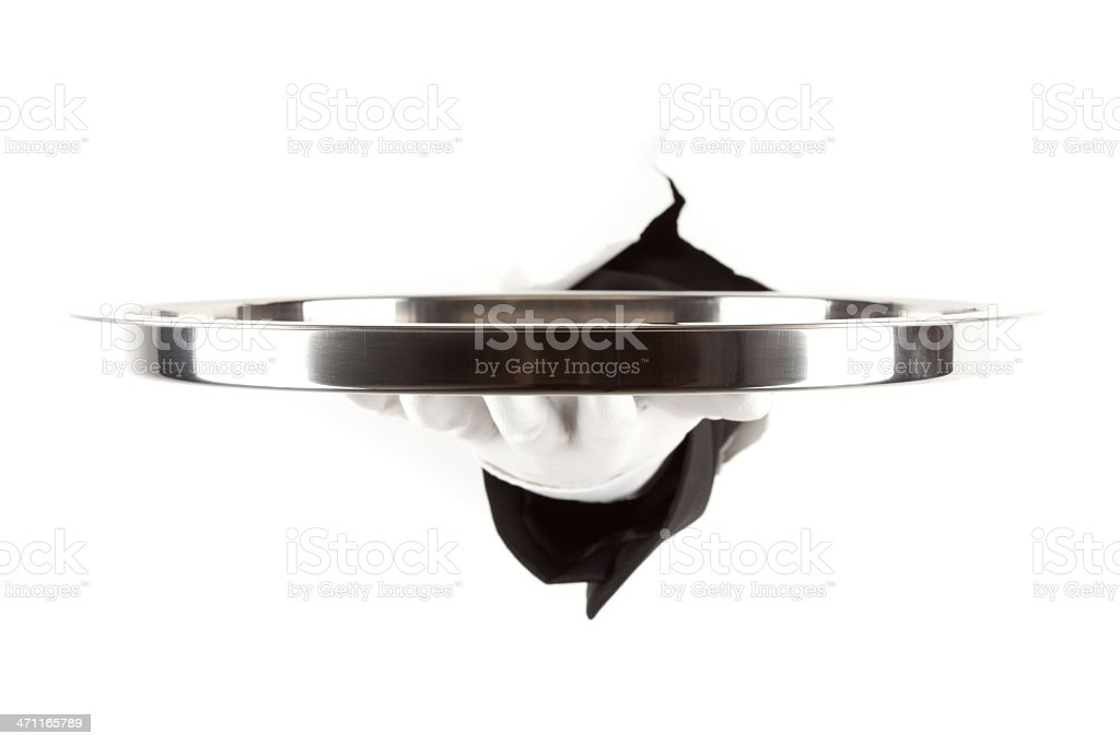 hand of waiter with platter royalty-free stock photo
