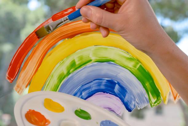 mano di donna bianca pittura con pennello arcobaleno - hand on glass covid foto e immagini stock