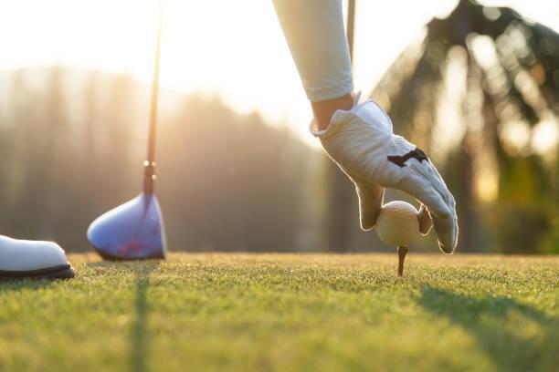 女性ゴルフ選手の手は穏やかなティーオフに木製のティーの上にゴルフボールを入れて、先にフェアウェイにティーオフからヒット準備をするために。健康的でライフスタイルのコンセプト� - ゴルフの写真 ストックフォトと画像