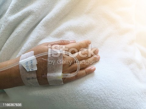 Hand of woman, Sodium Chloride Solution for Intravenous, The brine, Medical treatment, saline intravenous, Hospitals use a saline ,copy space.