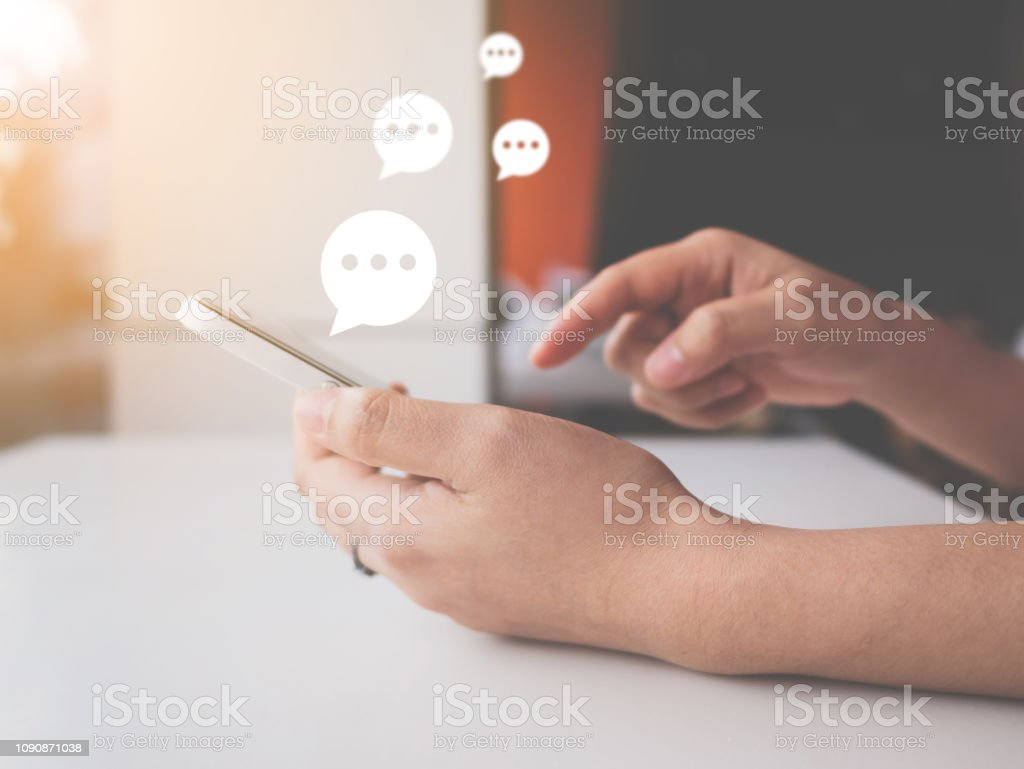 Hand Of Woman Typing Text On Mobile Smartphone Online Live