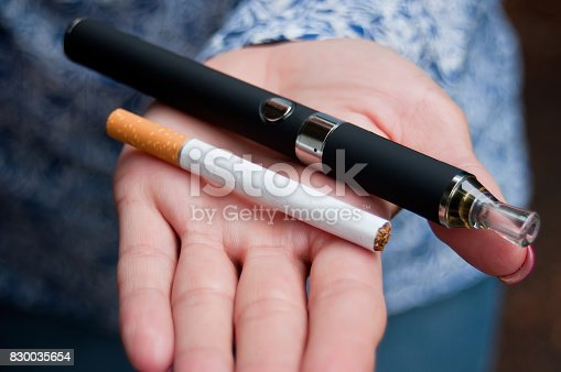 830035654istockphoto hand of woman with e-cigarette 830035654