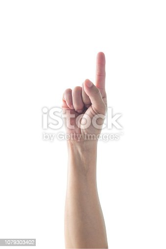 Hand of woman with pointing index finger with rim light isolated on white background (clipping path) for number one 1, showing direction, go straight forward