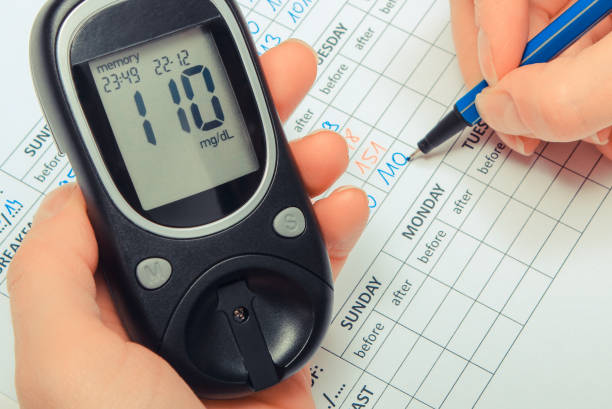 Hand of woman writing data to medical form and glucometer for checking sugar level stock photo