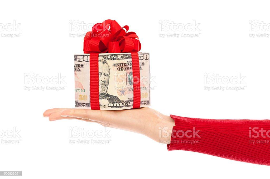 Hand Mit Geld Geschenk Einlösen Der Usa Währung Auf Weiß Stock ...