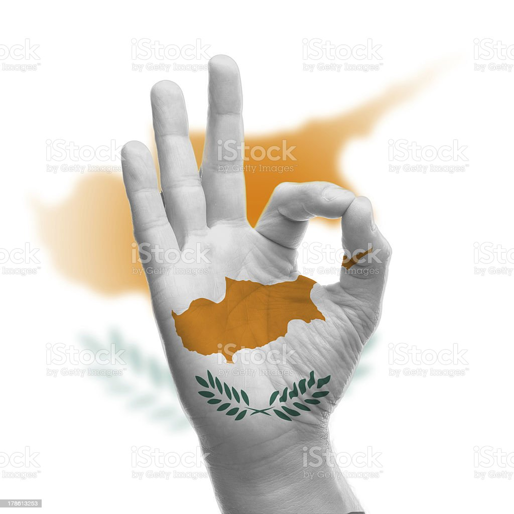hand OK sign with Cyprus flag stock photo