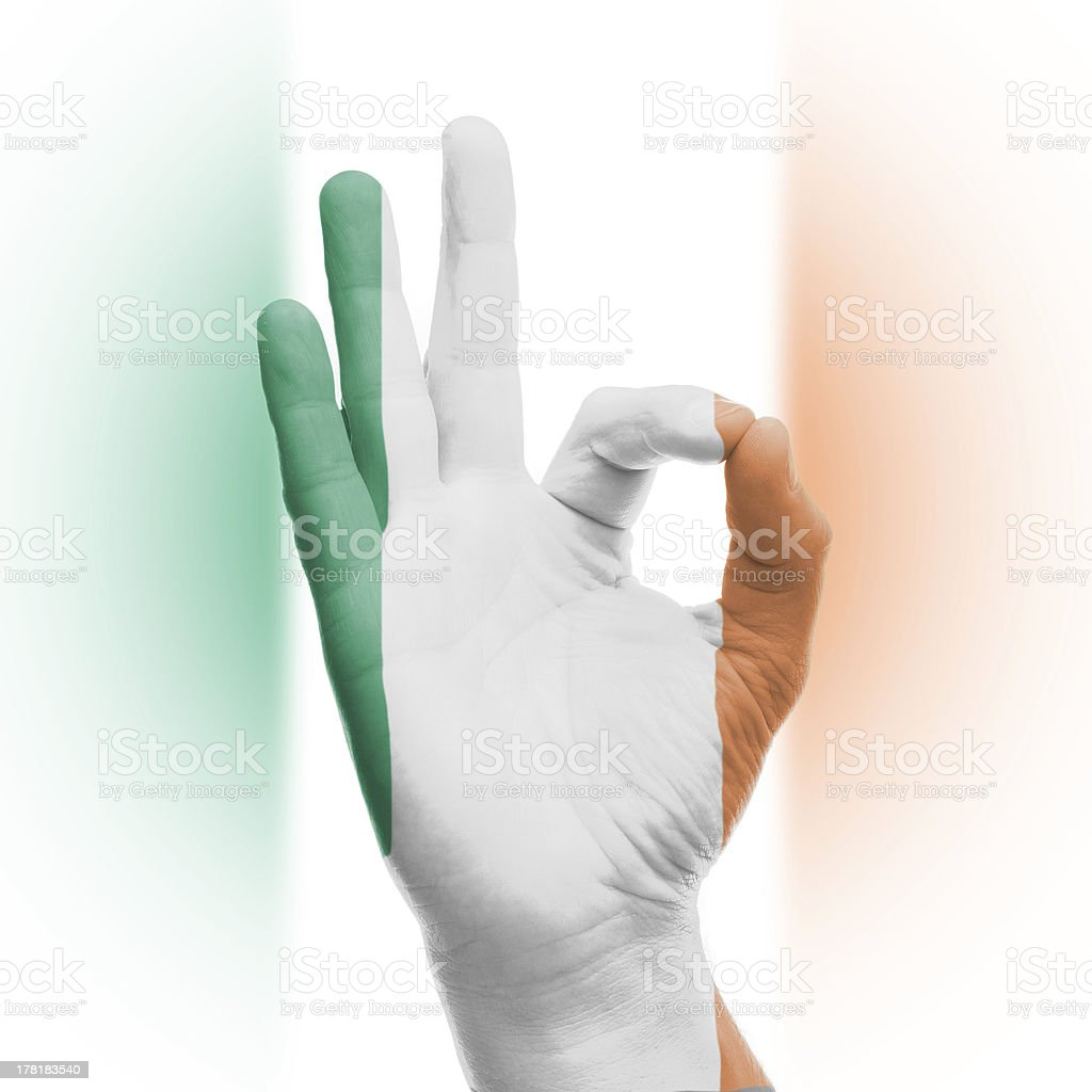 hand OK sign with Irish flag stock photo