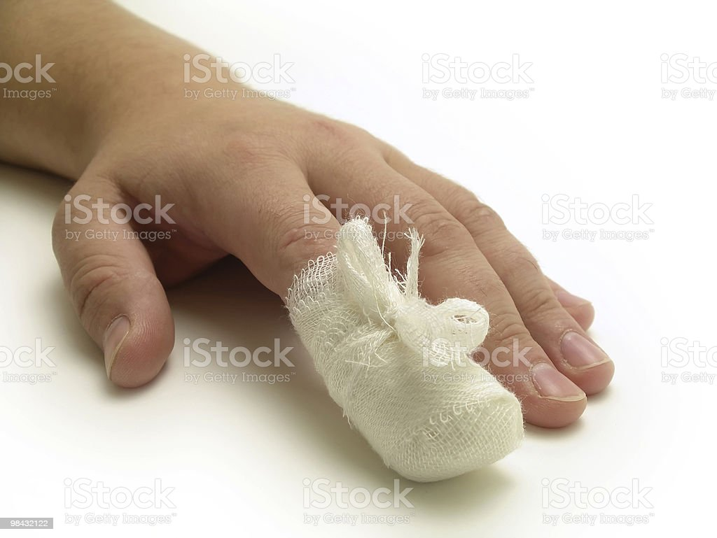 A hand on a white table with a bandage around index finger royalty-free stock photo