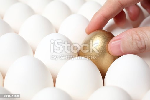 istock Hand on golden egg in tray 182035308