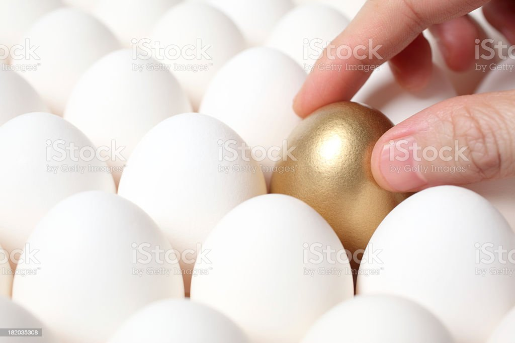 Hand on golden egg in tray stock photo