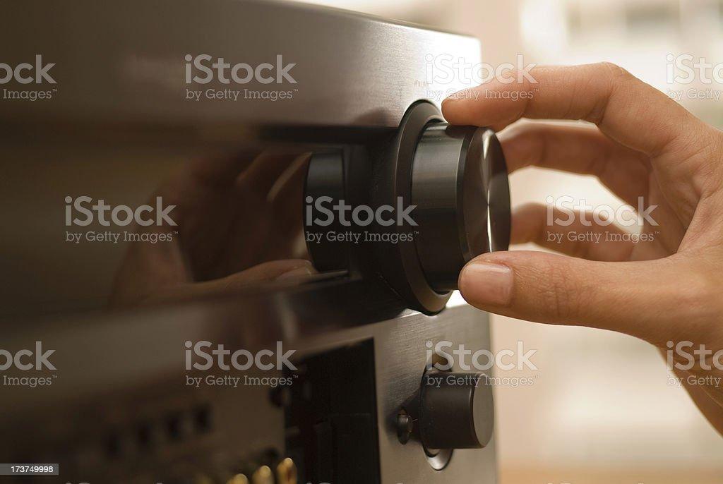 Hand on knob stock photo