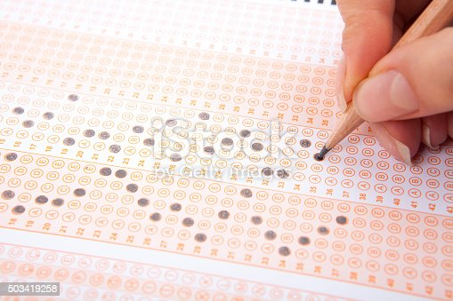 istock Hand on pencil choosing the test list on the examination 503419258