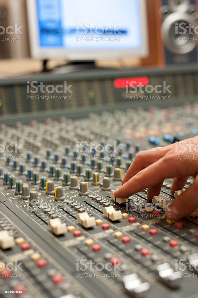 Hand On Professional Mixer royalty-free stock photo