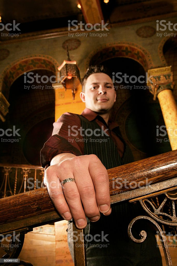 hand on rail, perspective royalty-free stock photo