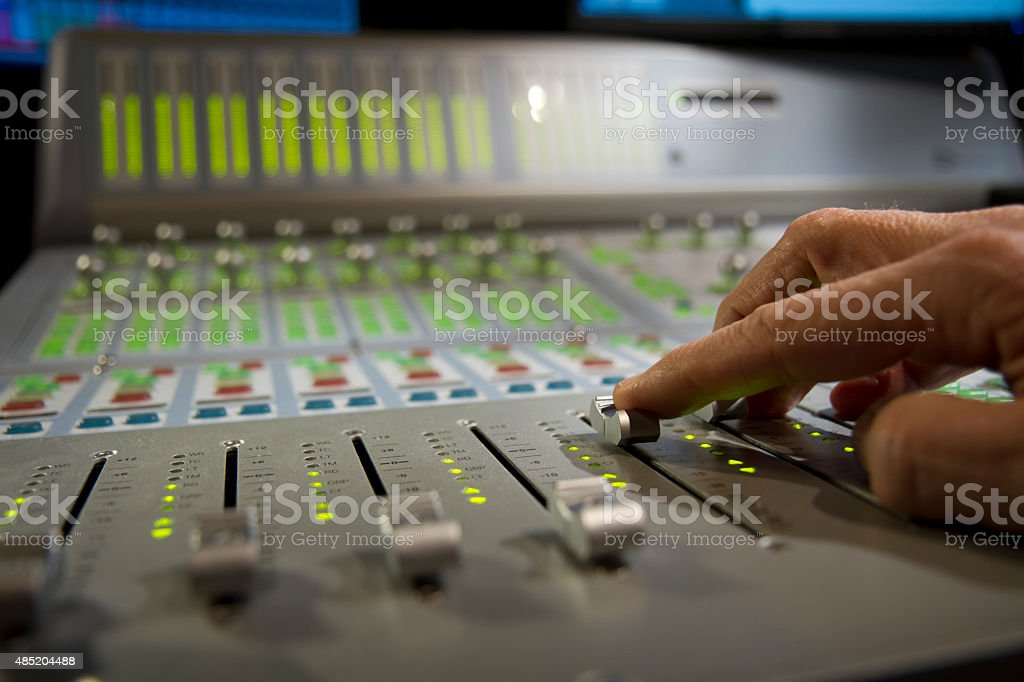 Hand on Sound Board stock photo