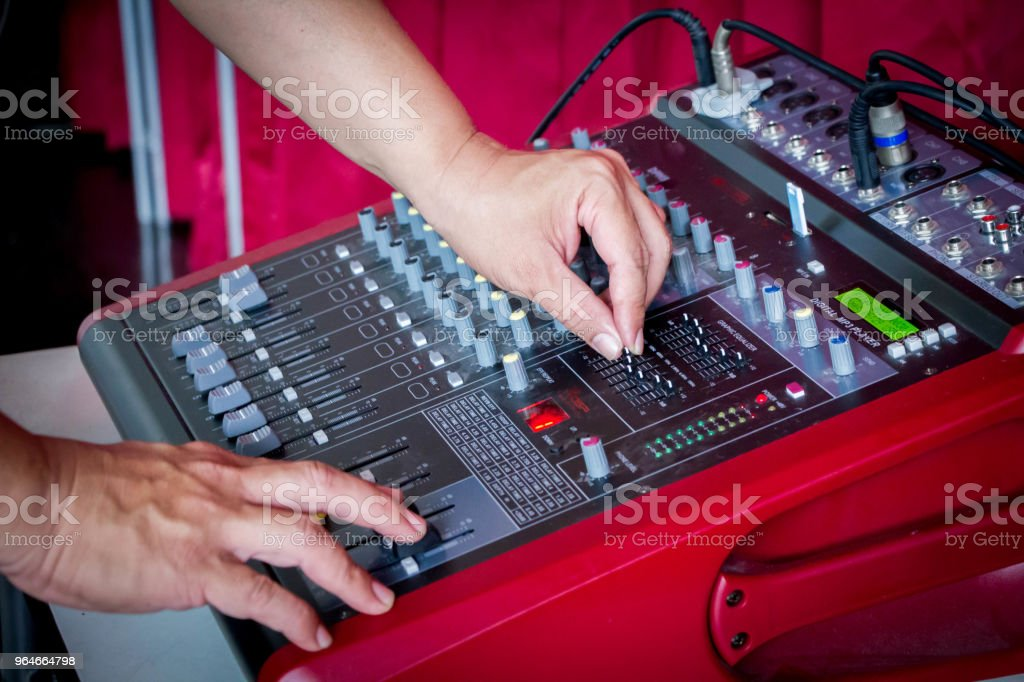 hand on sound check royalty-free stock photo