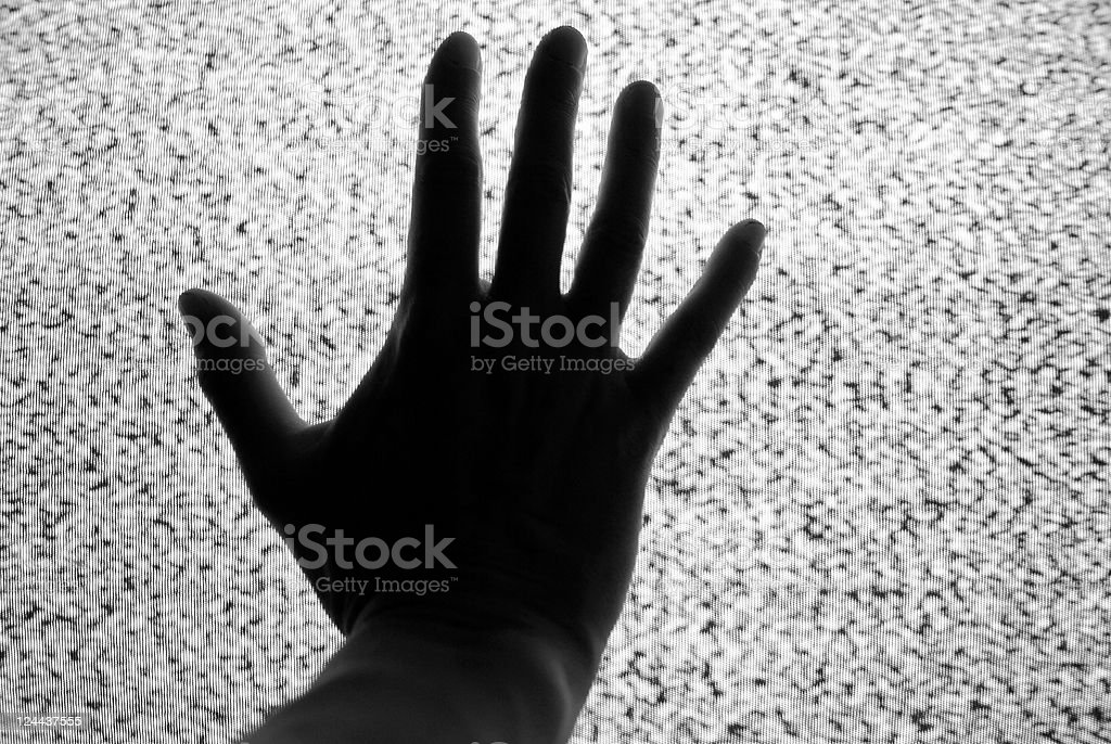 Hand on static stock photo