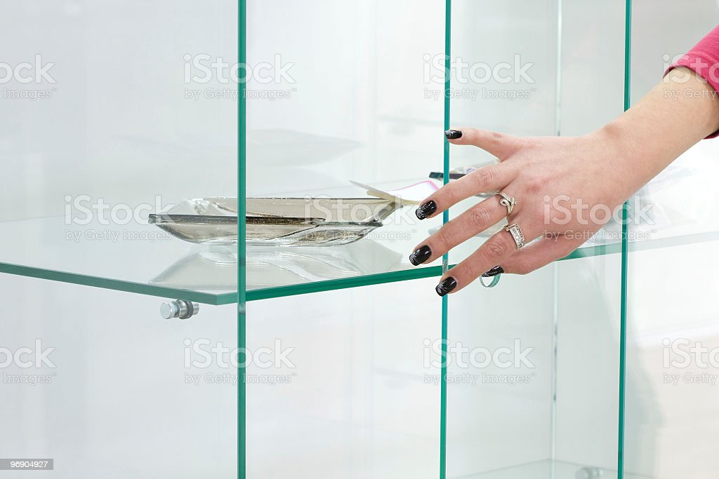 Hand on the glass royalty-free stock photo