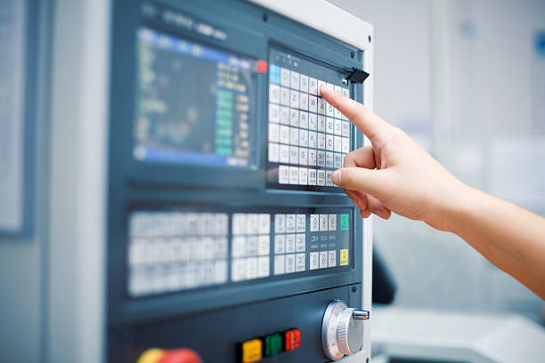 hand on the touch screen - control panel stock photos and pictures