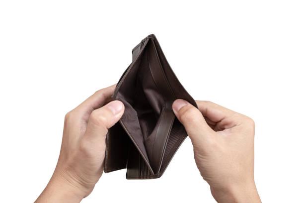 Hand open empty wallet stock photo