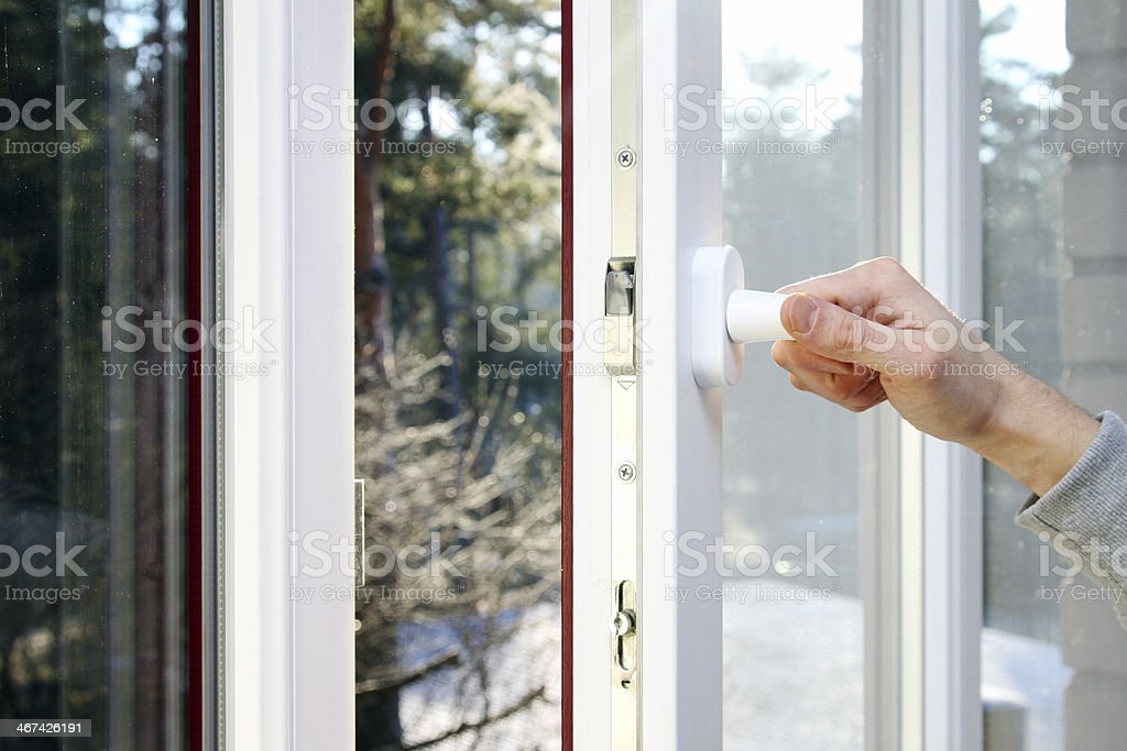 hand open plastic pvc window stock photo
