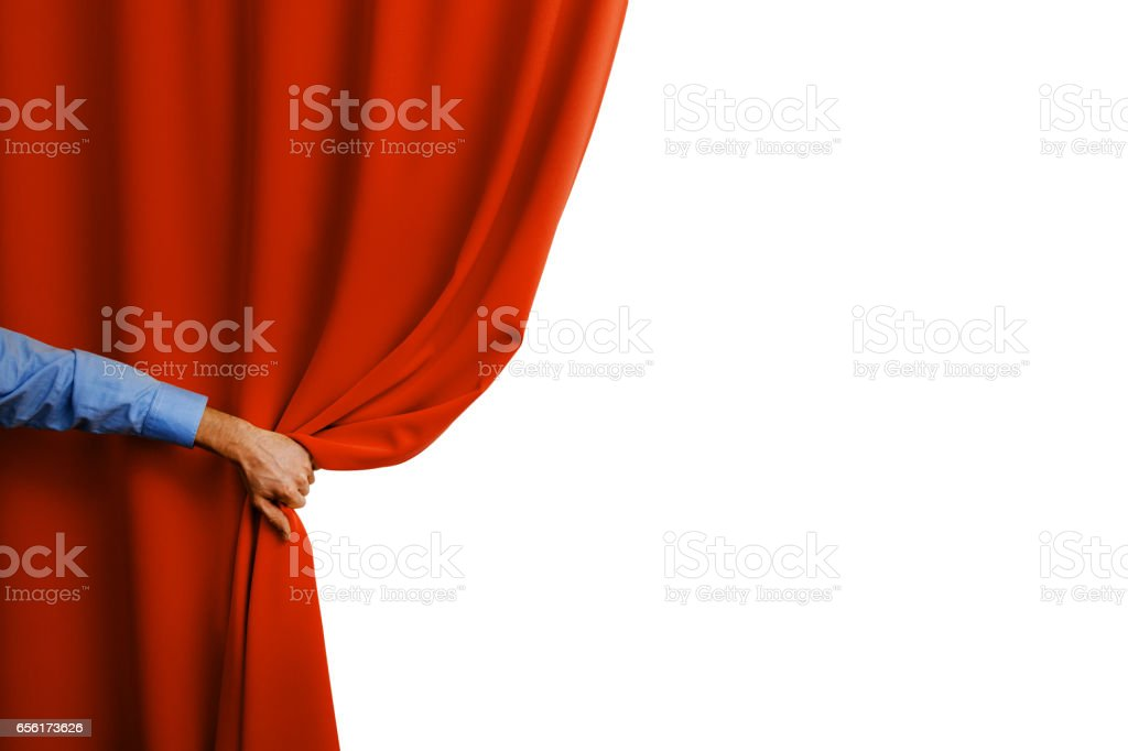 hand open red curtain stock photo