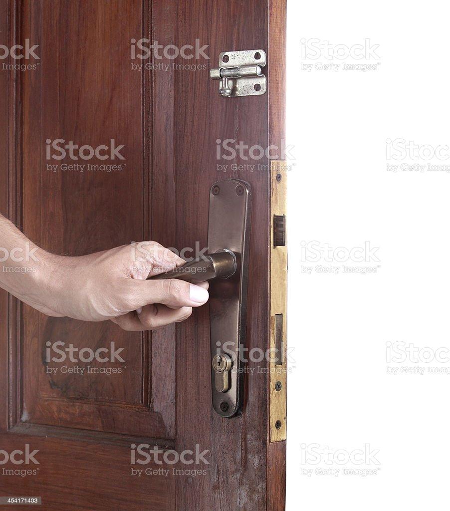 Hand open the door royalty-free stock photo