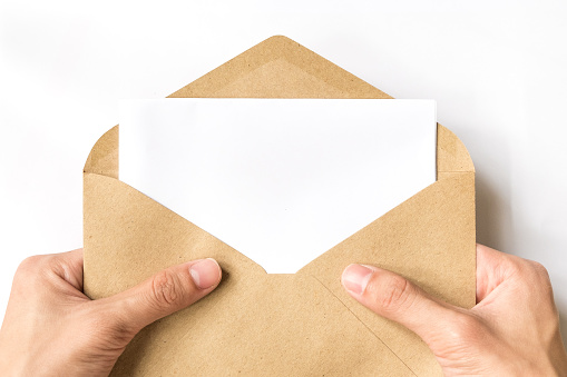 Hand Opening Brown Document Envelope With Copy Space Stock ...