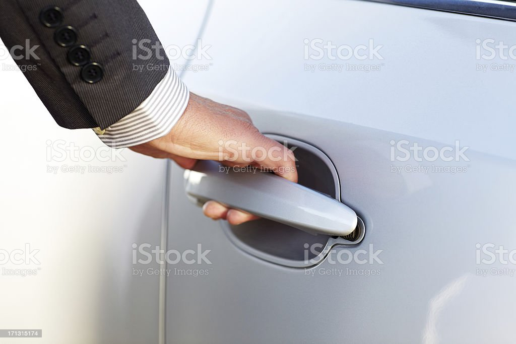 Hand Opening Car Door royalty-free stock photo