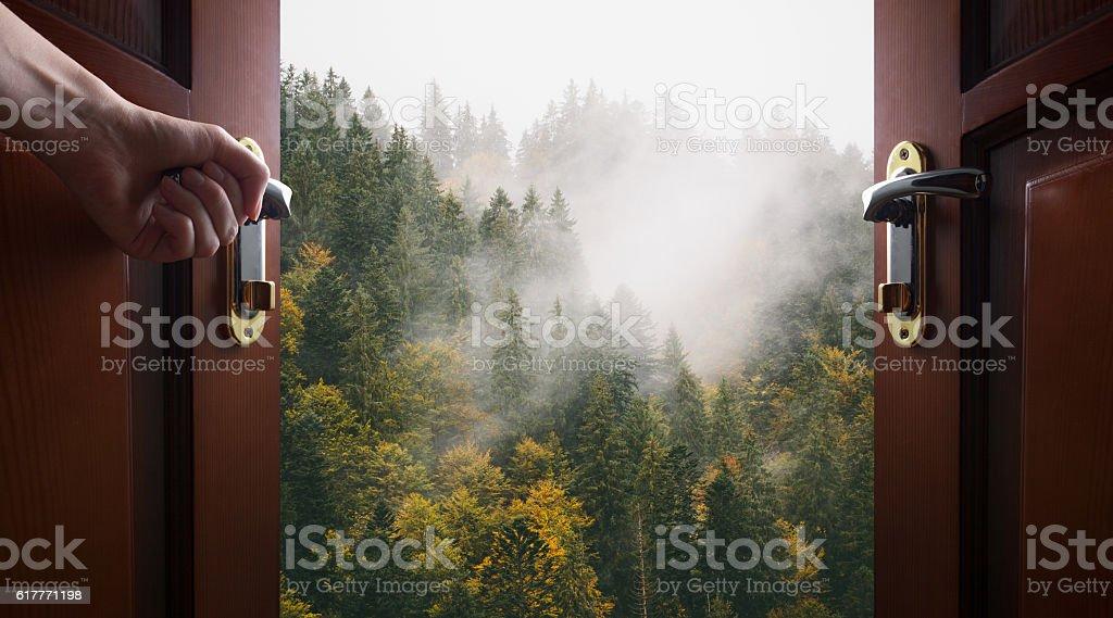 hand opens room door to the nature Lizenzfreies stock-foto