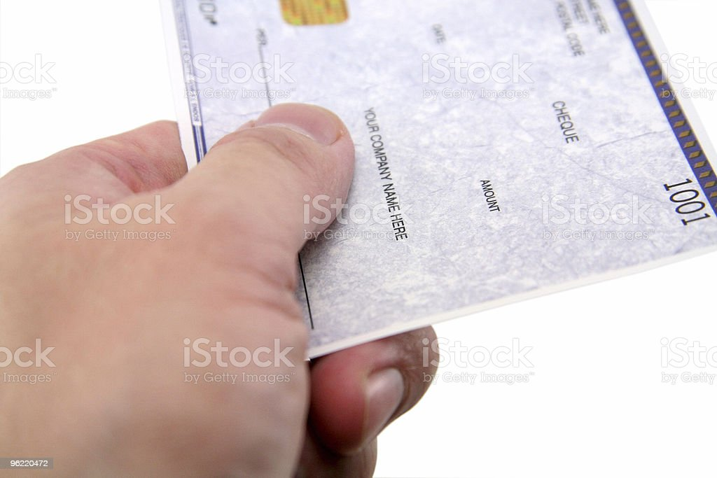 hand over a cheque stock photo