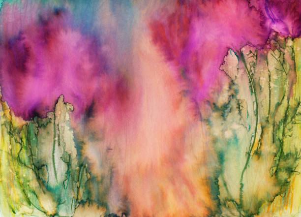 handbemalte abstrakten hintergrund mit leuchtenden farben und farben - coral and mauve stock-fotos und bilder