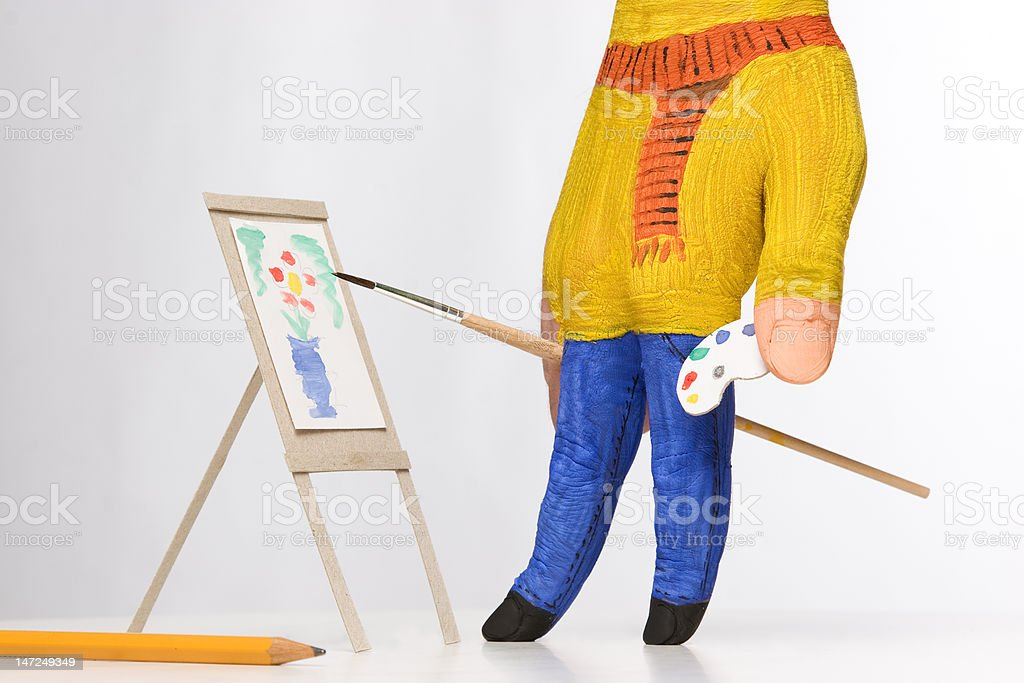 hand painted as painter with easel royalty-free stock photo