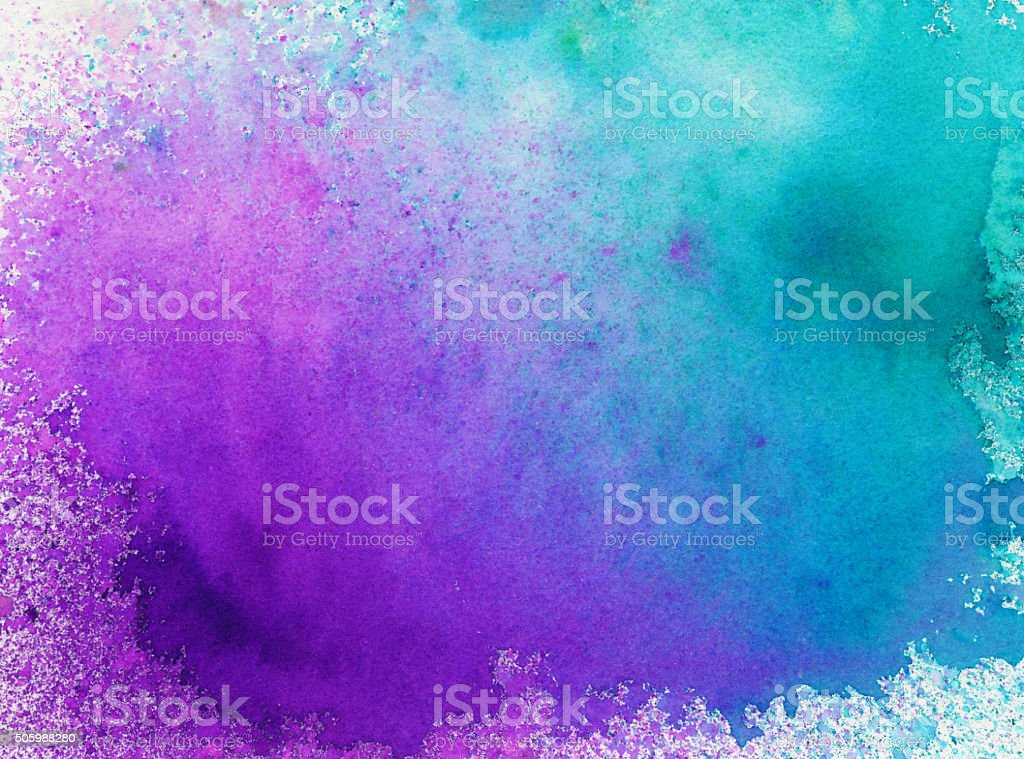 Hand painted background with bright colors and splatters stock photo