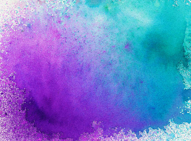hand painted background with bright colors and splatters - purple watercolor stock pictures, royalty-free photos & images