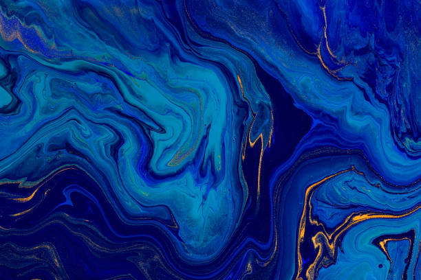 hand painted background with mixed liquid blue and golden paints. abstract fluid acrylic painting. modern art. marbled blue abstract background. liquid marble pattern - paint texture stock pictures, royalty-free photos & images