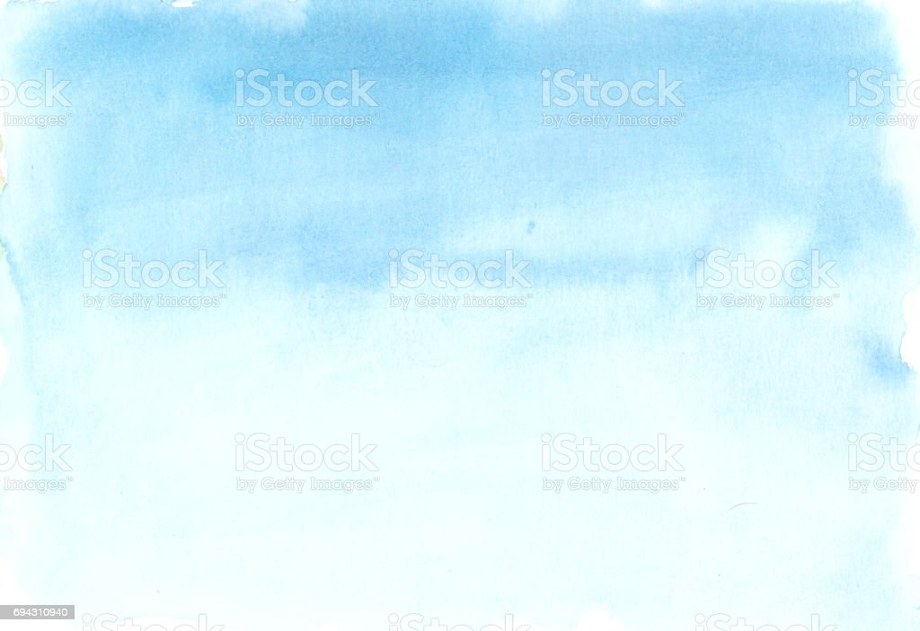 Hand painted blue watercolor background, watercolor wash stock photo