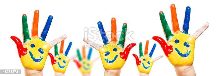 154371635istockphoto Hand Painted Child. White background 467833731