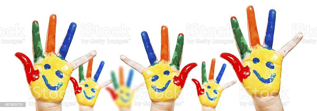 Hand Painted Child. White background stock photo