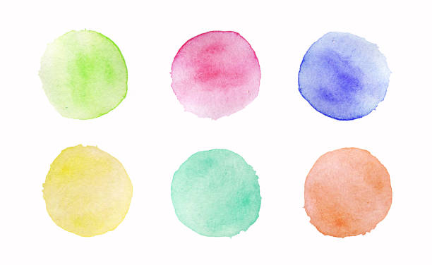 Hand painted colorful watercolor circles set on white background stock photo