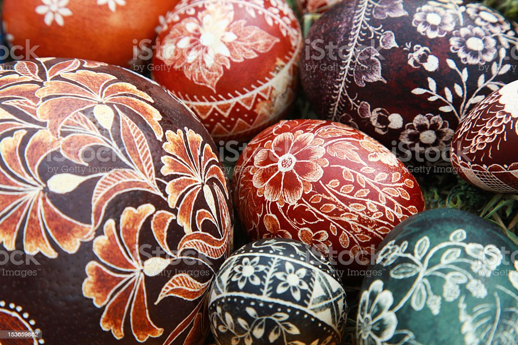 Hand painted easer eggs stock photo