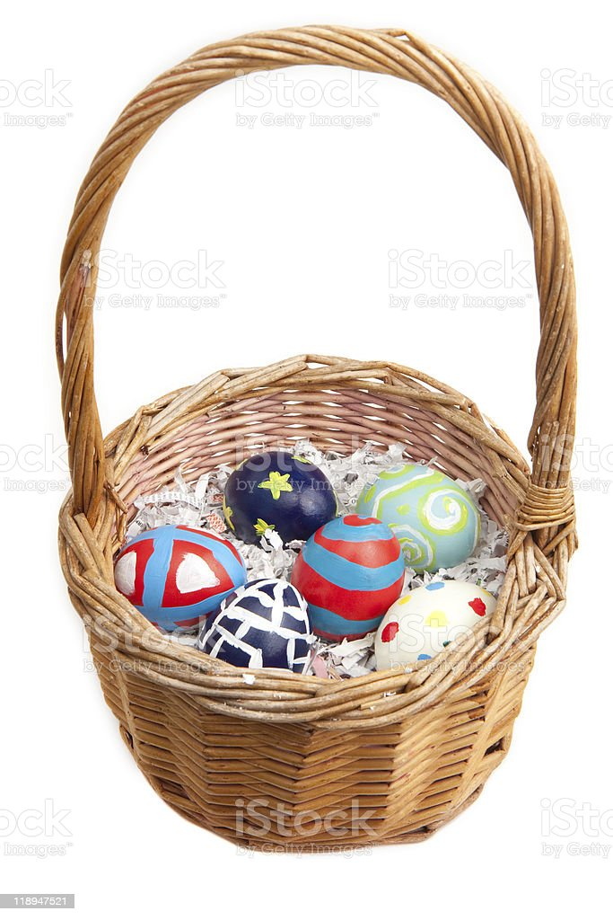 Hand Painted Easter Eggs in a Basket royalty-free stock photo