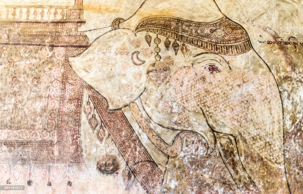 Hand painted elephant in an ancient Burmese mural inside the Sulamani Temple stock photo
