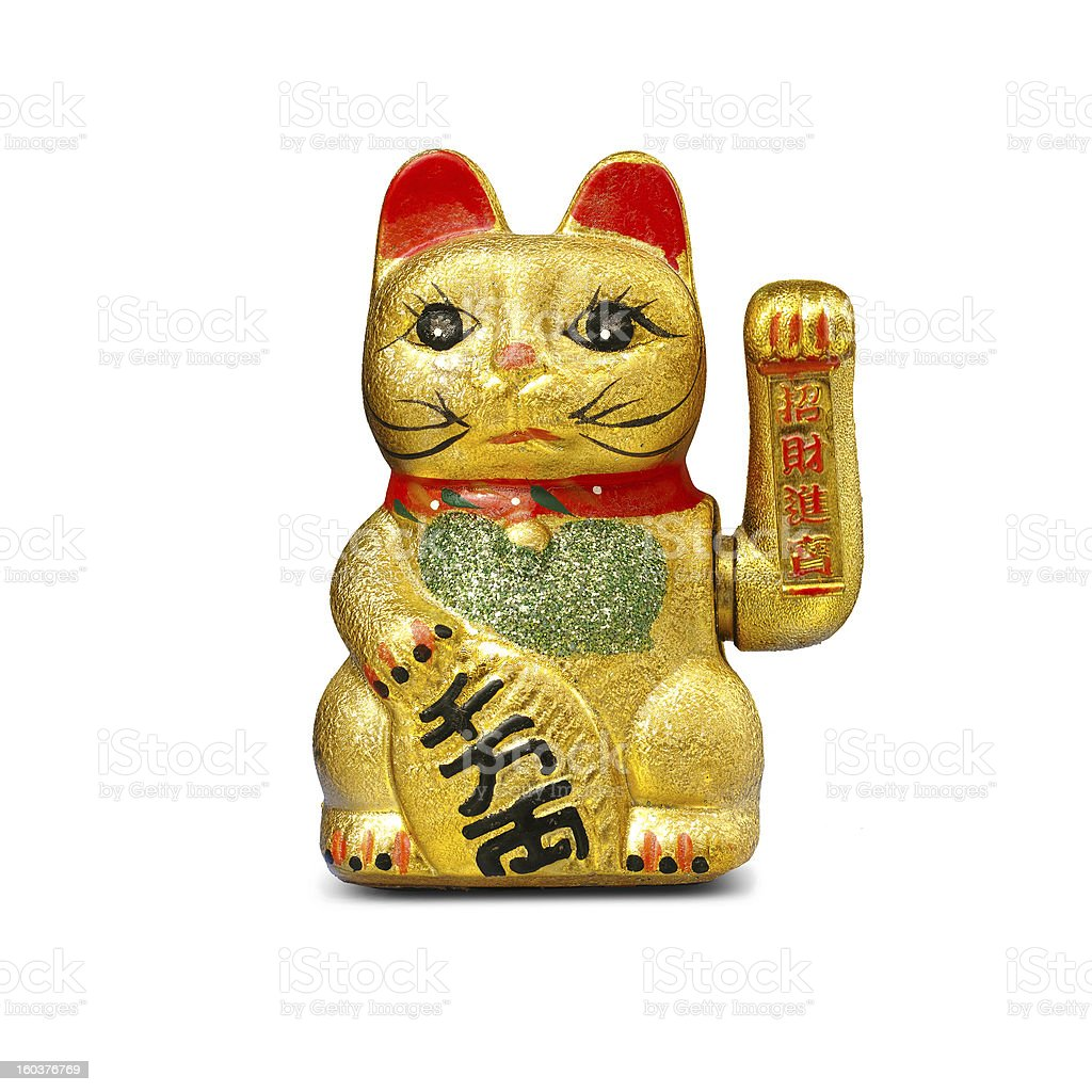 Hand painted gold lucky cat statue isolated on white stock photo
