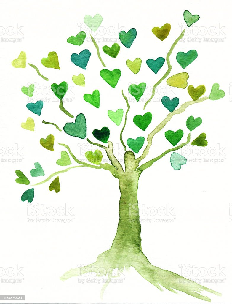 Hand painted green tree with heart leaves A green tree of hearts hand-painted with watercolors. 2015 Stock Photo