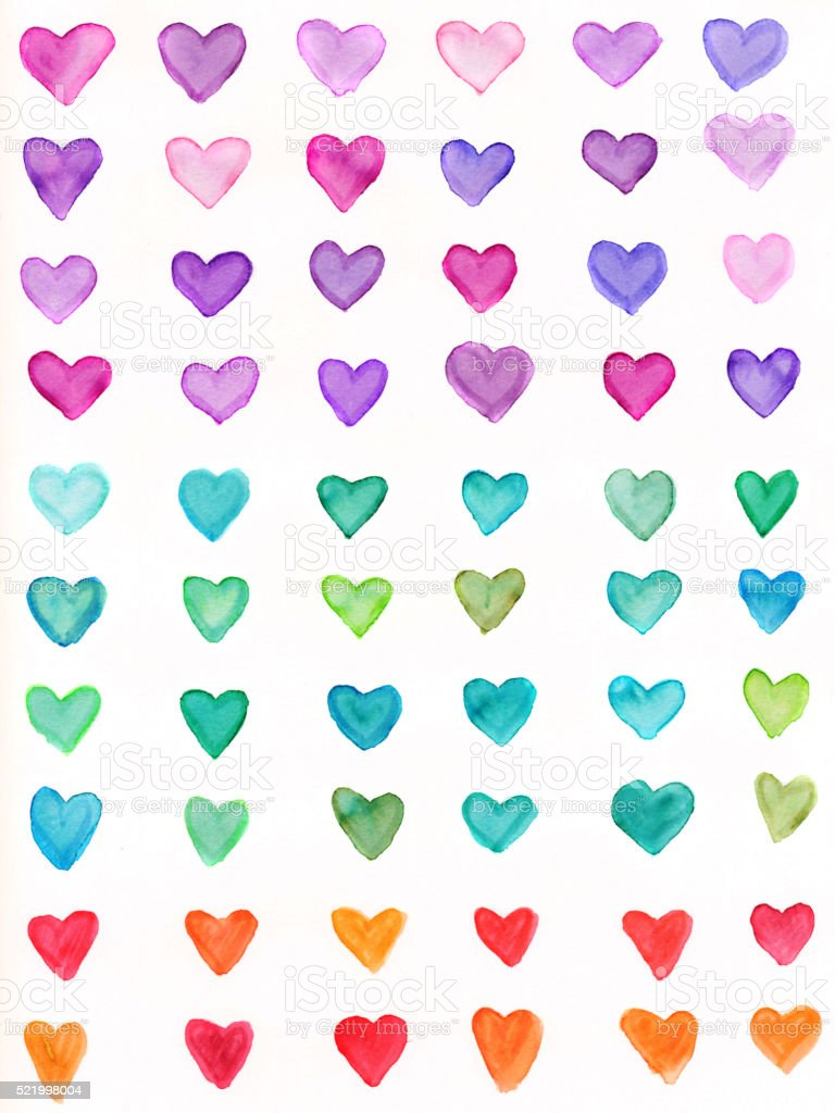 Hand painted hearts with a rainbow spectrum of colors stock photo